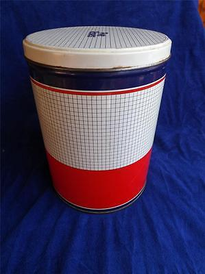 FIVE ROSES FLOUR VINTAGE METAL STORAGE KITCHEN TIN WITH LID RED WHITE BLUE
