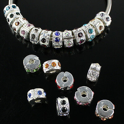 10PCS LOT CRYSTAL STONES SILVER FINDINGS STOPPER LOCKS/CLIP EUROPEAN CHARM BEADS