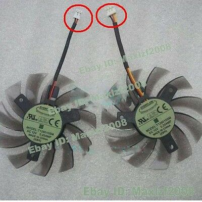 NEW 3pin 2pin 75mm 12V 0.2A T128010SM Fan VGA Video card GTX670 GTX580 560ti