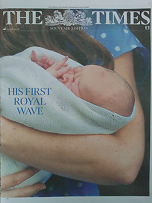 PRINCE GEORGE WAVES.WILLIAM & KATE.THE TIMES SOUVENIR UK NEWSPAPER.JULY 24 NEW