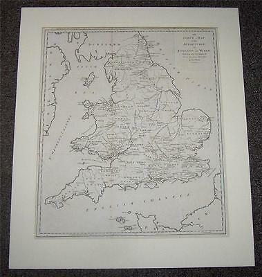 Original LARGE SIZE 1787 MAP Of THE ANTIQUITIES Of ENGLAND & WALES Rare