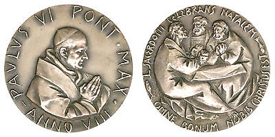 MEDAL POPE PAOLO VI YEAR VIII 50th ANNIVERSARY OF PRIESTHOOD, SILVER #MDS240