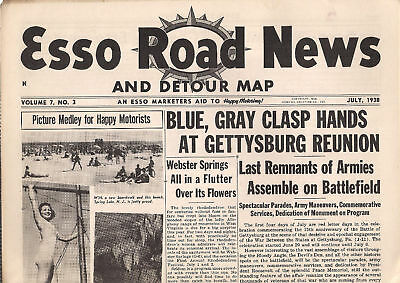 ESSO ROAD NEWS And Detour Map July 1938 Gettysburg