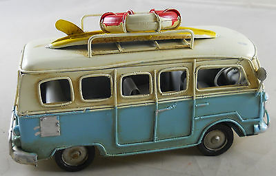 Vintage Looking VW Type Beach Bus Surfers Van w/ Surfboard Desk Paperweight