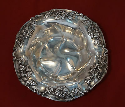 Antique Victorian Quadruple Silver Plate Art Nouveau Flowers Lg Bowl #78