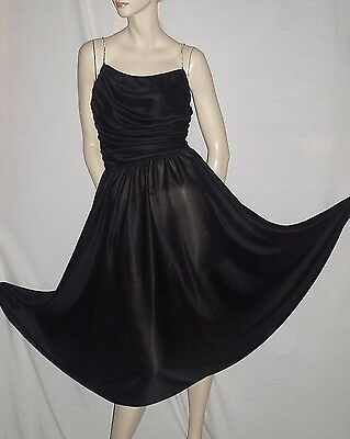 Vintage 70s Black Slinky Draped Jersey Disco Party Dress M FREE SHIPPING
