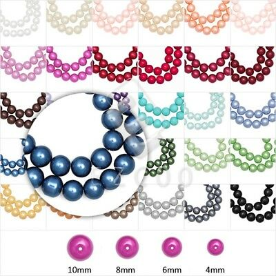 4mm/6mm/8mm/10mm Fashion Round Loose Glass Pearl Beads Wholesale 30 Color