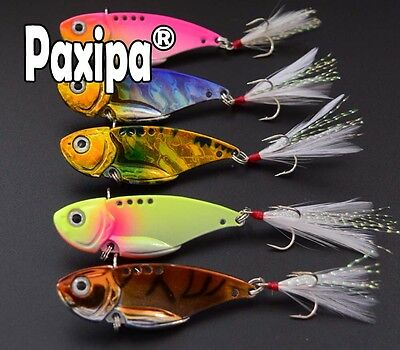 Lot 5 VIB Metal Spoon Fishing Lures Bass Bait with Feather Treble Hooks