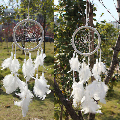 Dream Catcher Circular White Feathers Wall Hanging Decoration Decor Craft