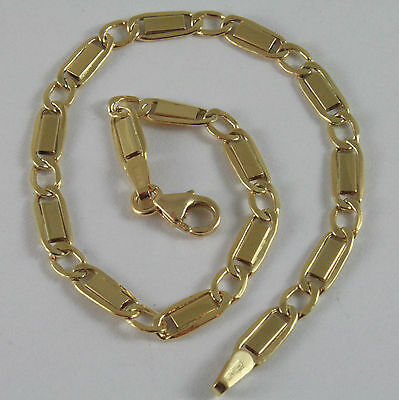Solid 18K Yellow Gold Bracelet With Flat Alternate Oval Mesh, Made In Italy
