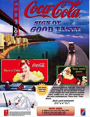 Coca Cola Collection Card Promotional Sheet -Sign of Good Taste -1996 -NEW STOCK