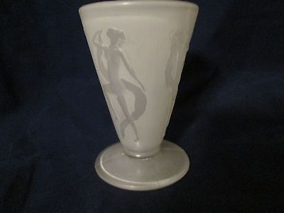 ART DECO CONSOLIDATED GLASS DANCING NYMPHS FROSTED FRENCH COCKTAIL GLASS