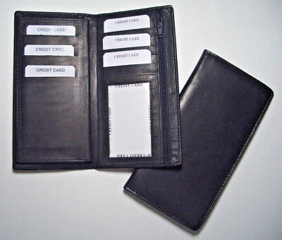 100% Genuine Leather-Checkbook cover with extra divider black (Hand Crafted)