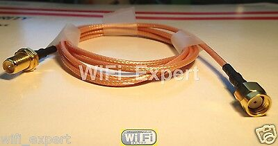 WiFi Antenna EXTENSION Cable/Lead Wireless RP SMA male to female 1M 3FT from USA