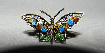 Vintage 800 Silver Italian Signed Gold Wash Butterfly Pin/brooch Plique A Jour