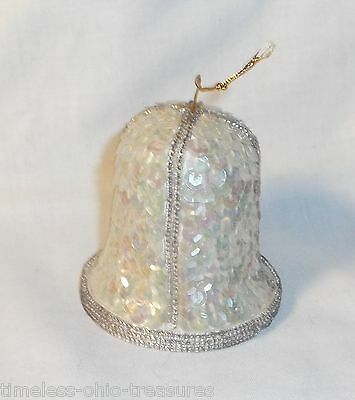 """white sequin bell Christmas ornament decoration  2 1/2"""" Tall"""