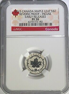 2015 $2 Canada Silver Maple Leaf Incuse Ngc Pf70 Ucam Reverse Proof 1/10 Oz Pr70