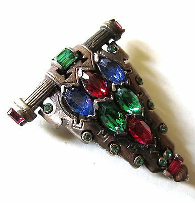 FABULOUS VICTORIAN DRESS CLIPS STUDDED WITH MANY COLORFUL PASTE STONES STUNNING