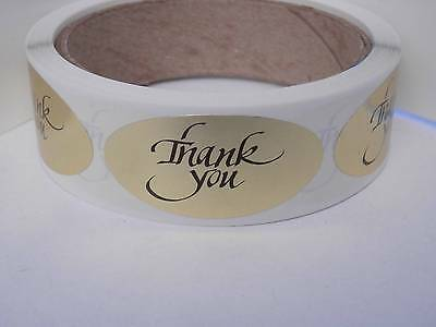 THANK YOU 1x2 oval  Stickers Labels  bright gold foil bkgd 250/rl