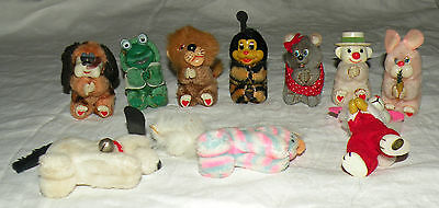 Lot of 10 Vintage Clip On Plush Huggers Animals