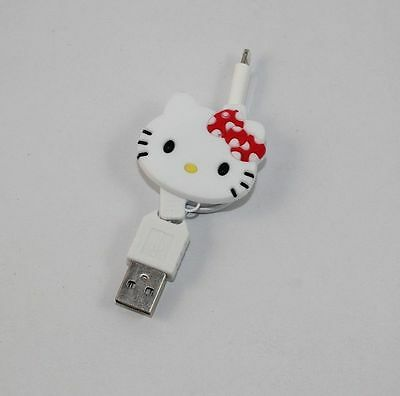 Cute Hello Kitty Retractable USB Data Line Charging Cable for iPhone 5 iPhone