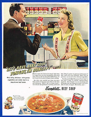 1942 Magazine Ad Campbell's Beef Soup, Man and Wife in Kitchen #PPF003