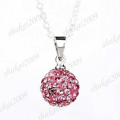 Fashion Various Color 925 Silver 10mm Shambhala Crystal Ball Pendant Necklace