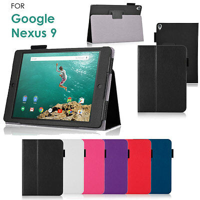 Google Nexus 9 Tablet Leather Foldable Flip Case Cover with Multi-Angle Stand
