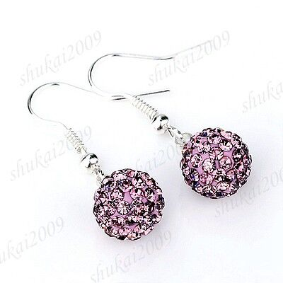 Fashion Various Color 925 Silver 10mm Shambhala Crystal Round Ball Earring