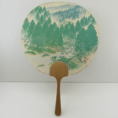 JAPANESE UCHIWA RIGID HAND FAN Vintage Asian Chinese Paper Pien Mien Ping Shan