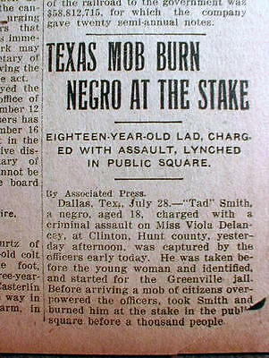 1908 newspaper Lynching of Negro man DALLAS TEXAS-  burned at the stake for rape