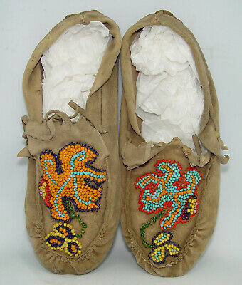 Vintage Antique  Native American Indian Beaded Moccasins  -  Guaranteed AACA TN