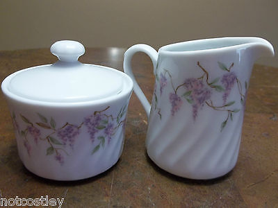 CORNING WARE WISTERIA Creamer and Sugar HTF VERY CLEAN NO CHIPS OR MARKS!!