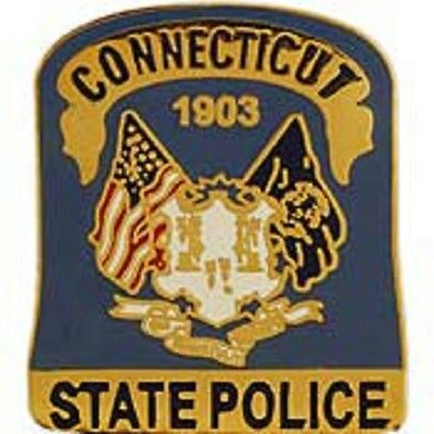 CT  CONNECTICUT STATE POLICE PATCH MINI BADGE PIN - NEW POLICE PIN