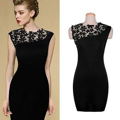 Sexy Women Graceful Hollow Floral Lace Bodycon Cocktail Evening Party Mini Dress