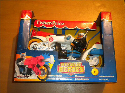 1998 Vintage Fisher Price Rescue Heroes Motorcycle Police Officer Jake Just Mib