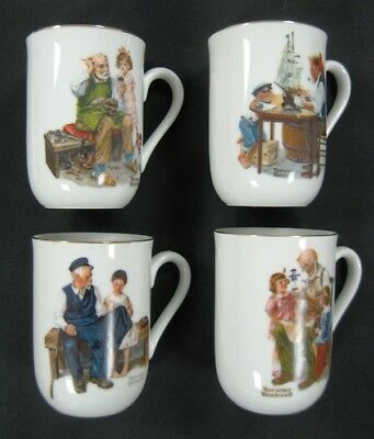 Set of 4 Norman Rockwell Cups w Gold Trim - New - 1982