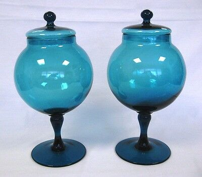Pair of Antique Colored Display Heavy Glass Stemware w Lids and Large Bases
