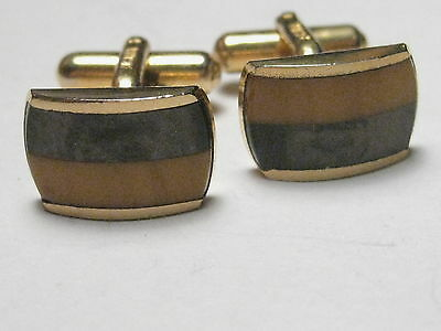 Vintage Brown/Golden Two-Tone Austria Cuff Links, (bakelite or natural stone?)