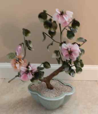 JAPANESE JADE TREE WITH GLASS CHERRY BLOSSOM PETALS & LEAVES