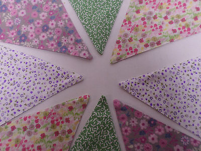 Floral Bunting Pink Blue Green Festive Decor Bunting Shabby Chic Cute 2.5m #8R31