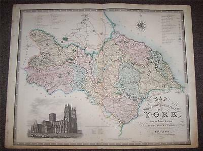 Original LARGE SIZE 1834 GREENWOOD MAP Of NORTH RIDING YORK Hand Coloured