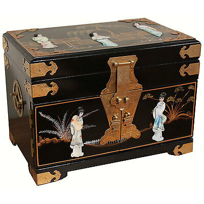 Black Mother of Pearl Jewellery Box Oriental Furniture