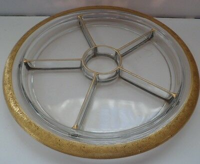 "Tiffin Gold Trimmed Milton Six Section 13"" Relish Tray"