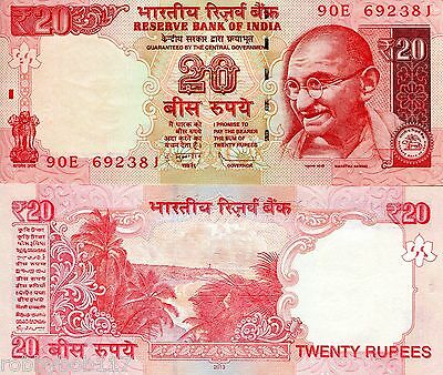 INDIA 20 Rupees Banknote World UNC Currency Money BILL p103b 2013 note Gandhi