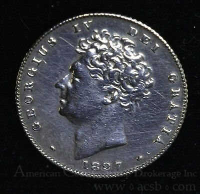 Great Britain 6 Pence 1827 AU+ silver KM#698 George IV KEY DATE 6P.