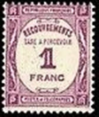 """FRANCE STAMP TIMBRE TAXE N° 59 """" RECOUVREMENT 1F LILAS """" NEUF xx TTB"""