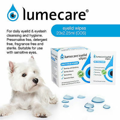 Lumecare Eye Cleansing Wipes - Suitable For Dogs - Hypoallergenic - 60 Sachets