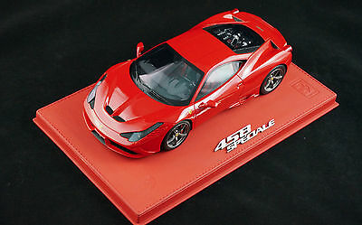 1/18 BBR FERRARI 458 SPECIALE ROSSO CORSA RED DELUXE LEATHER BASE LE 10 PCS N MR