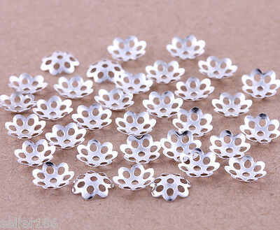 500 pcs 6mm silver plated little flower bead caps spacer jewelry findings charms